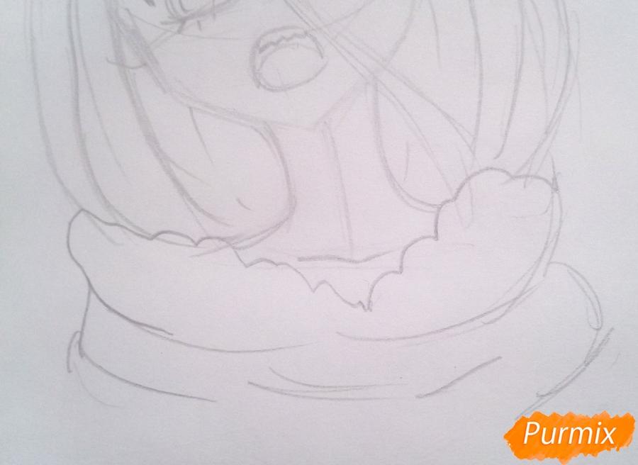Рисуем маленькую Зеро Ту из аниме Милый Во Франксе карандашами - шаг 4