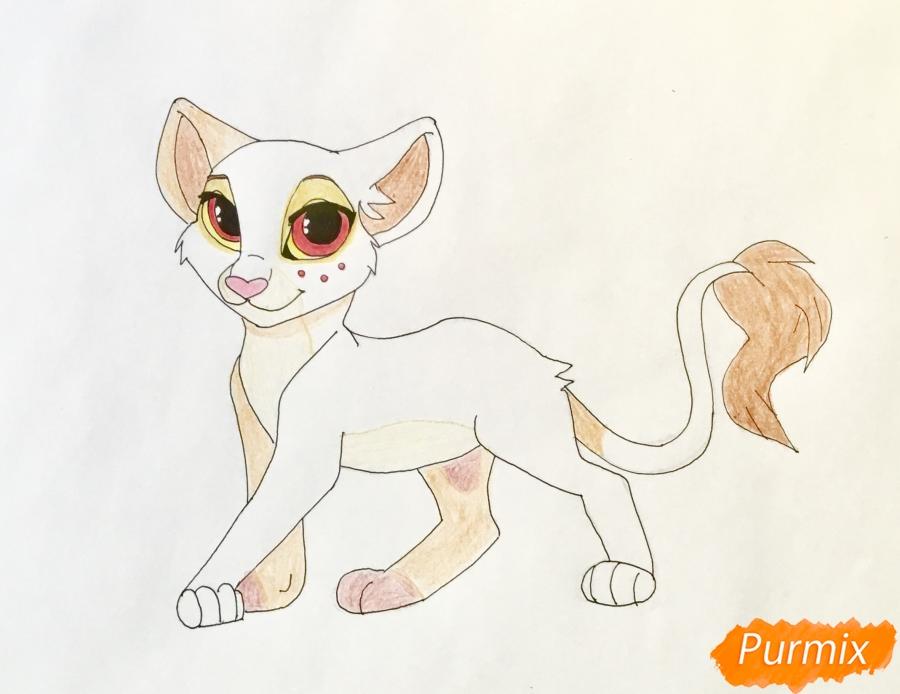 Рисуем маленькую аниме львицу с красными глазами - шаг 8
