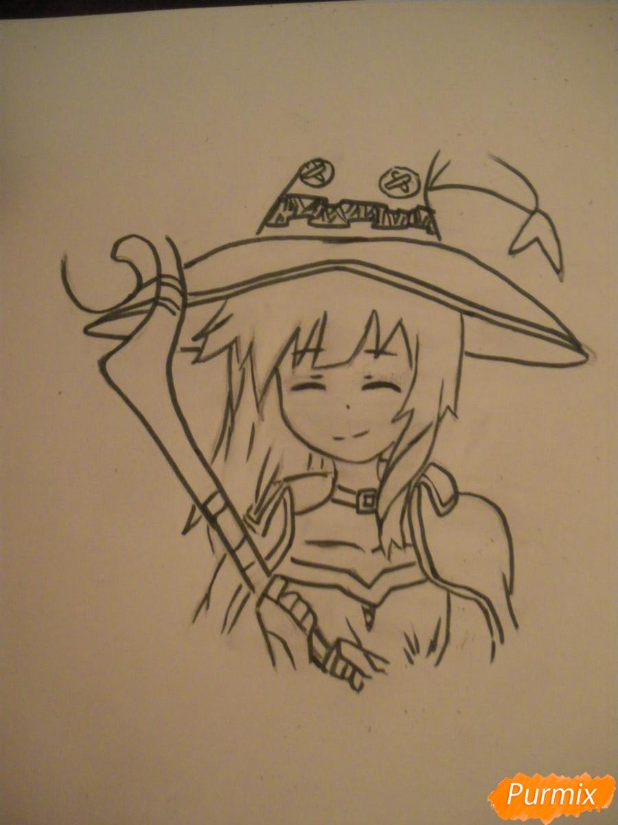 Рисуем Мегумин из аниме Богиня благословляет этот замечательный мир - шаг 7