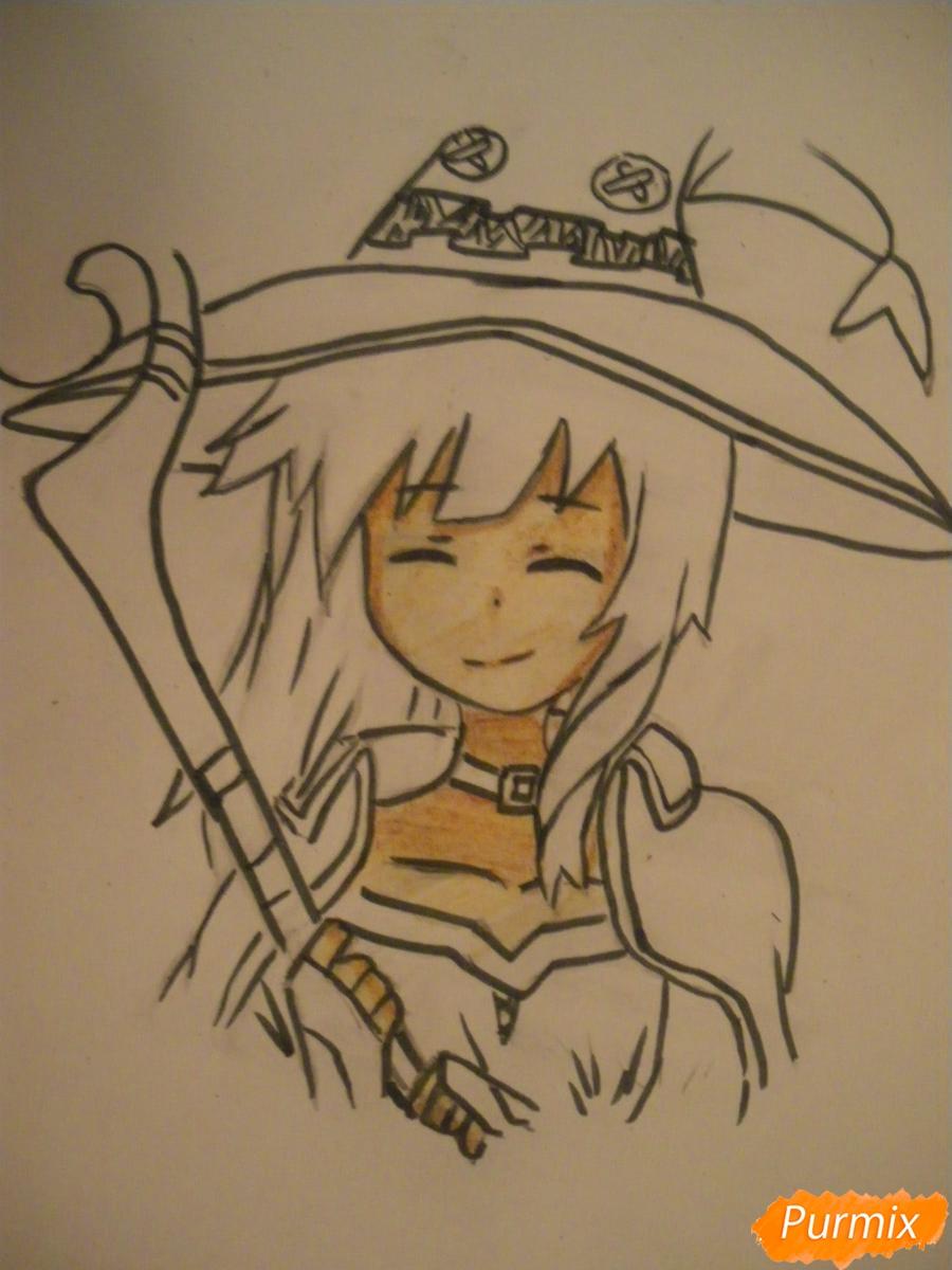 Рисуем Мегумин из аниме Богиня благословляет этот замечательный мир - шаг 8