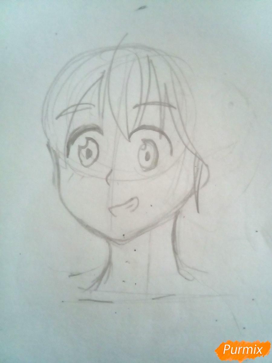 Рисуем Мелиодаса из аниме Семь Смертных Грехов карандашами - шаг 2