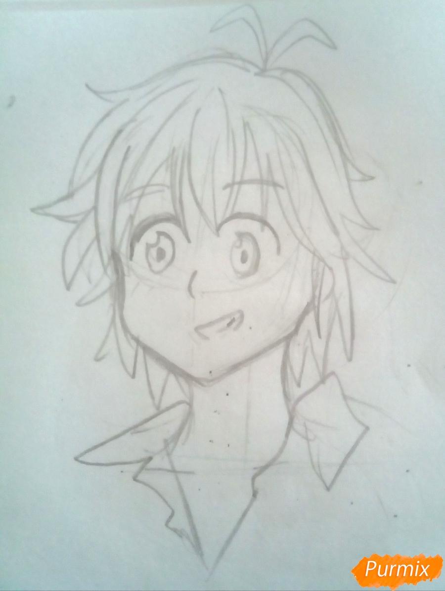 Рисуем Мелиодаса из аниме Семь Смертных Грехов карандашами - шаг 3
