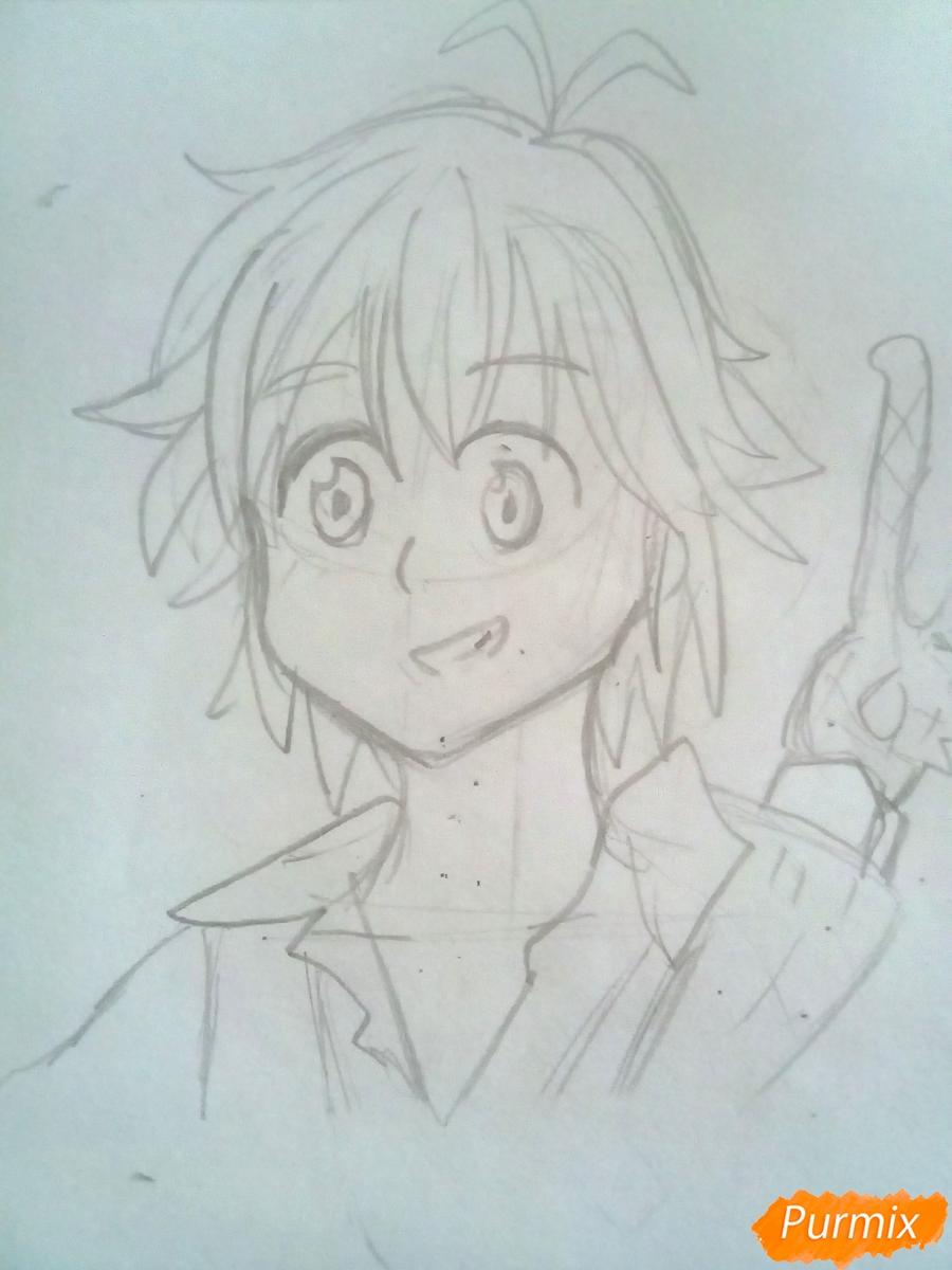 Рисуем Мелиодаса из аниме Семь Смертных Грехов карандашами - шаг 4