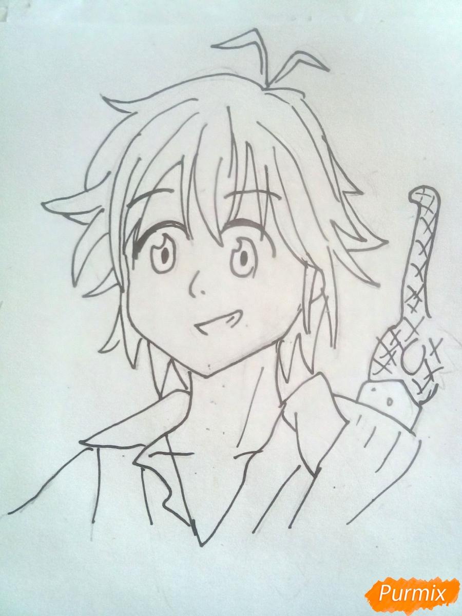 Рисуем Мелиодаса из аниме Семь Смертных Грехов карандашами - шаг 5