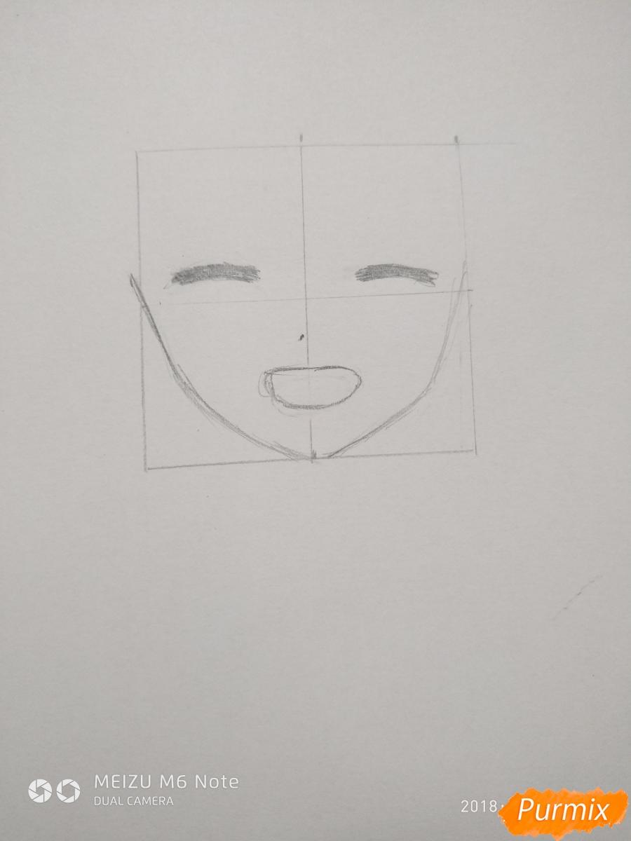 Рисуем Менму из аниме Невиданный цветок - шаг 3