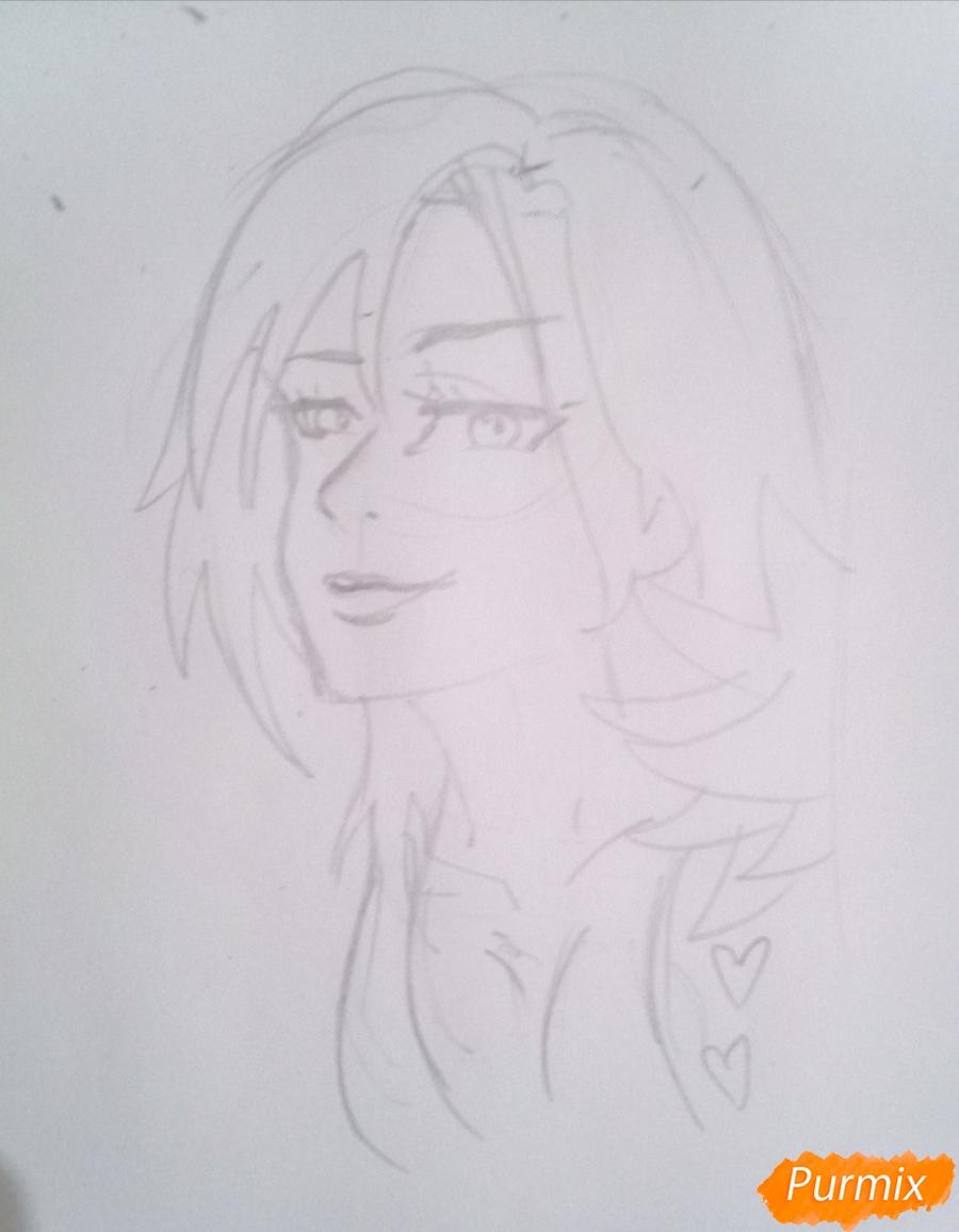 Рисуем Мерлин из аниме Семь Смертных Грехов карандашами - шаг 3