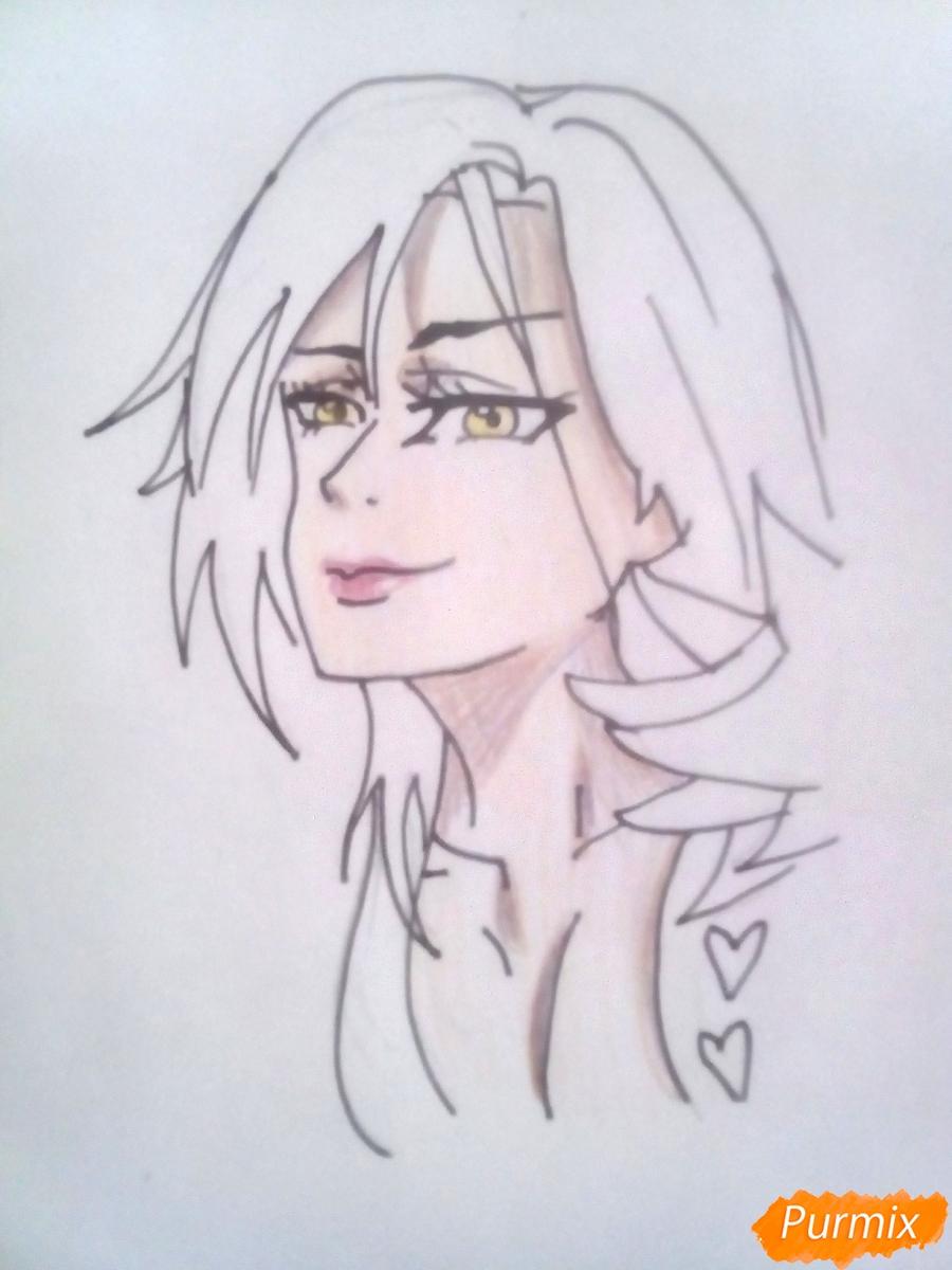 Рисуем Мерлин из аниме Семь Смертных Грехов карандашами - шаг 5