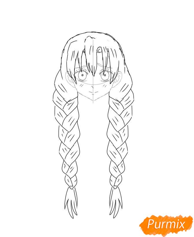 Рисуем Мицури Канроджи из аниме Клинок, рассекающий демонов - шаг 5