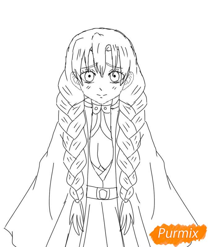Рисуем Мицури Канроджи из аниме Клинок, рассекающий демонов - шаг 6