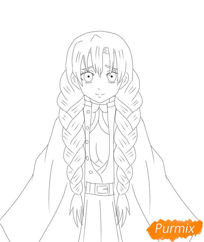 Рисуем Мицури Канроджи из аниме Клинок, рассекающий демонов - шаг 7