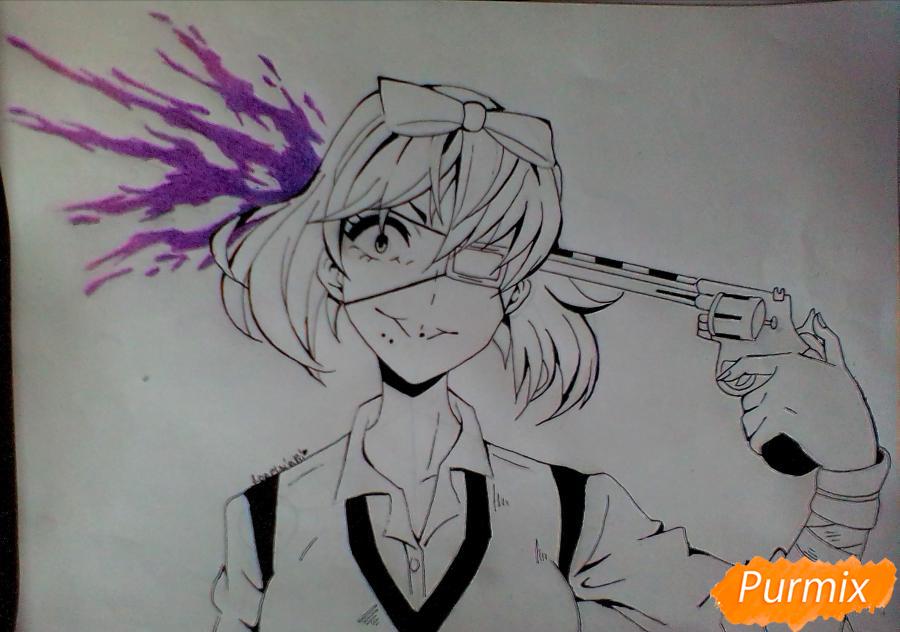 Рисуем Мидари Икишиму из аниме Безумный Азарт - шаг 5