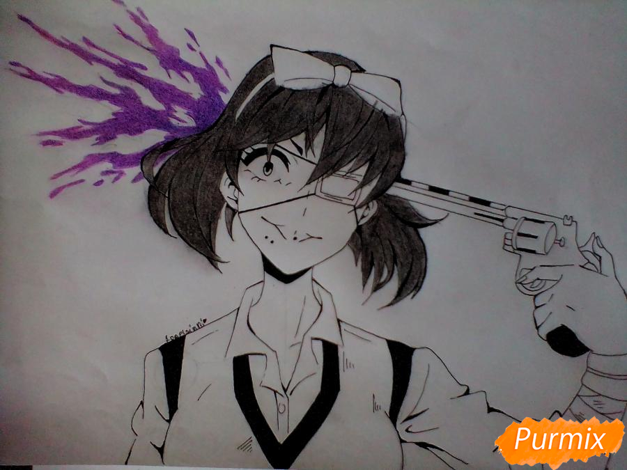 Рисуем Мидари Икишиму из аниме Безумный Азарт - шаг 6
