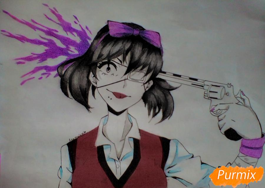 Как нарисовать Мидари Икишиму из аниме Безумный Азарт поэтапно