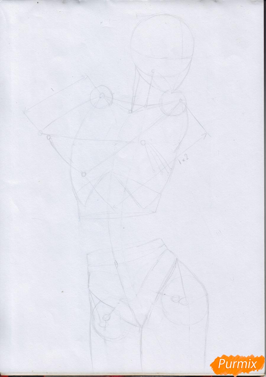 Рисуем Микасу из Атака Титанов в случайной позе - шаг 4