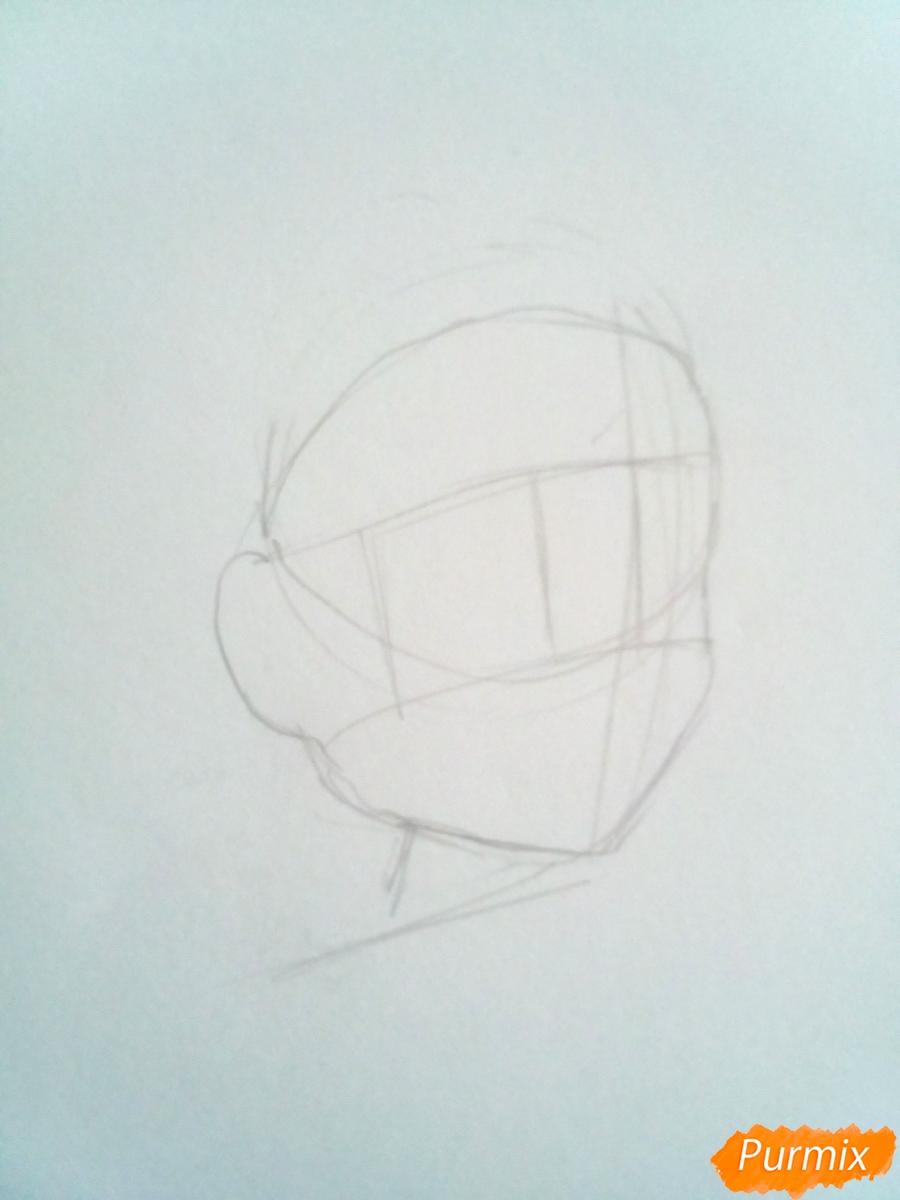 Рисуем Мику из аниме Милый Во Франксе карандашами - шаг 1