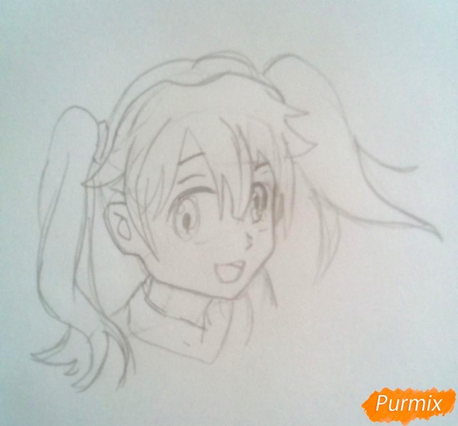 Рисуем Мику из аниме Милый Во Франксе карандашами - шаг 3