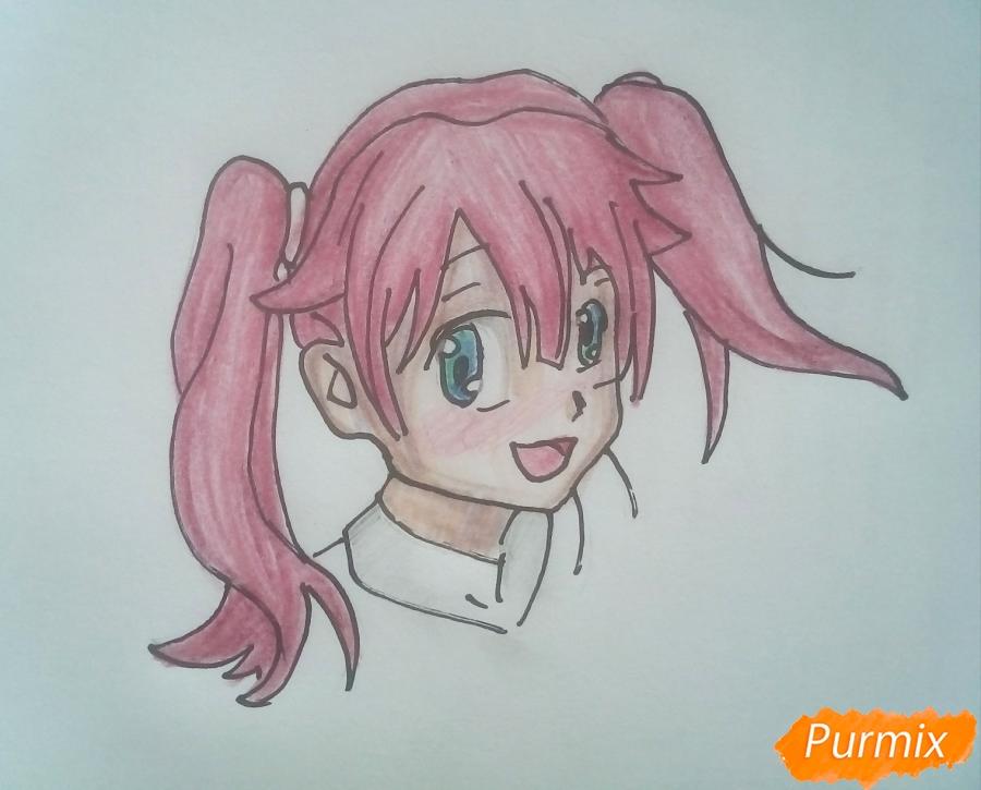Рисуем Мику из аниме Милый Во Франксе карандашами - шаг 6