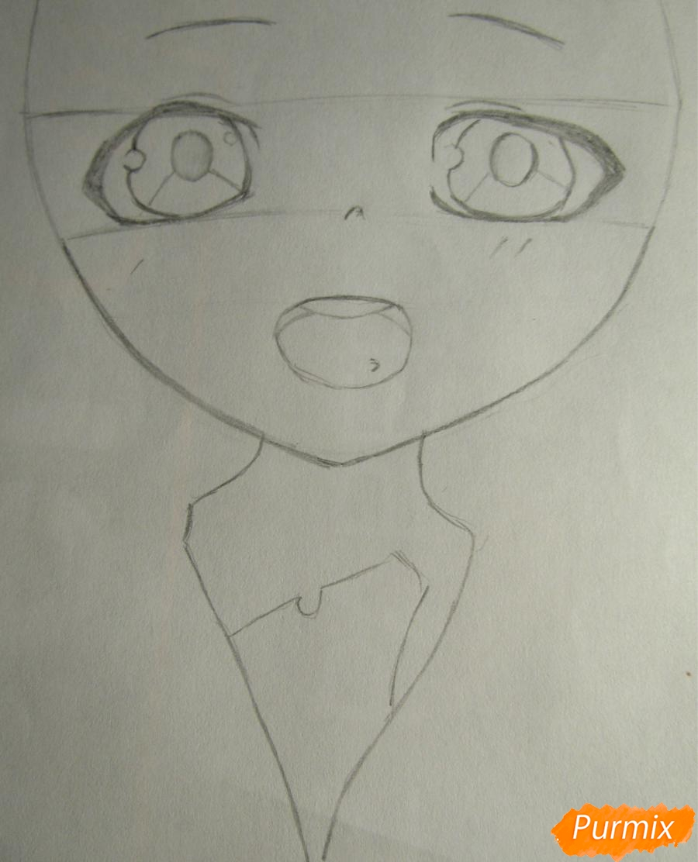 Рисуем миленького мальчика в стиле аниме карандашами и фломастерами - шаг 2