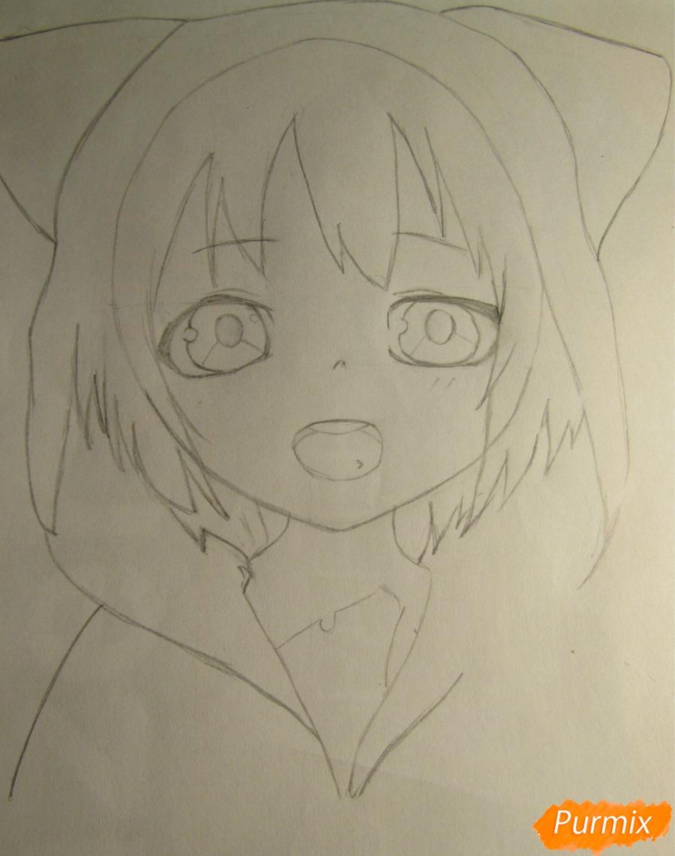 Рисуем миленького мальчика в стиле аниме карандашами и фломастерами - шаг 3