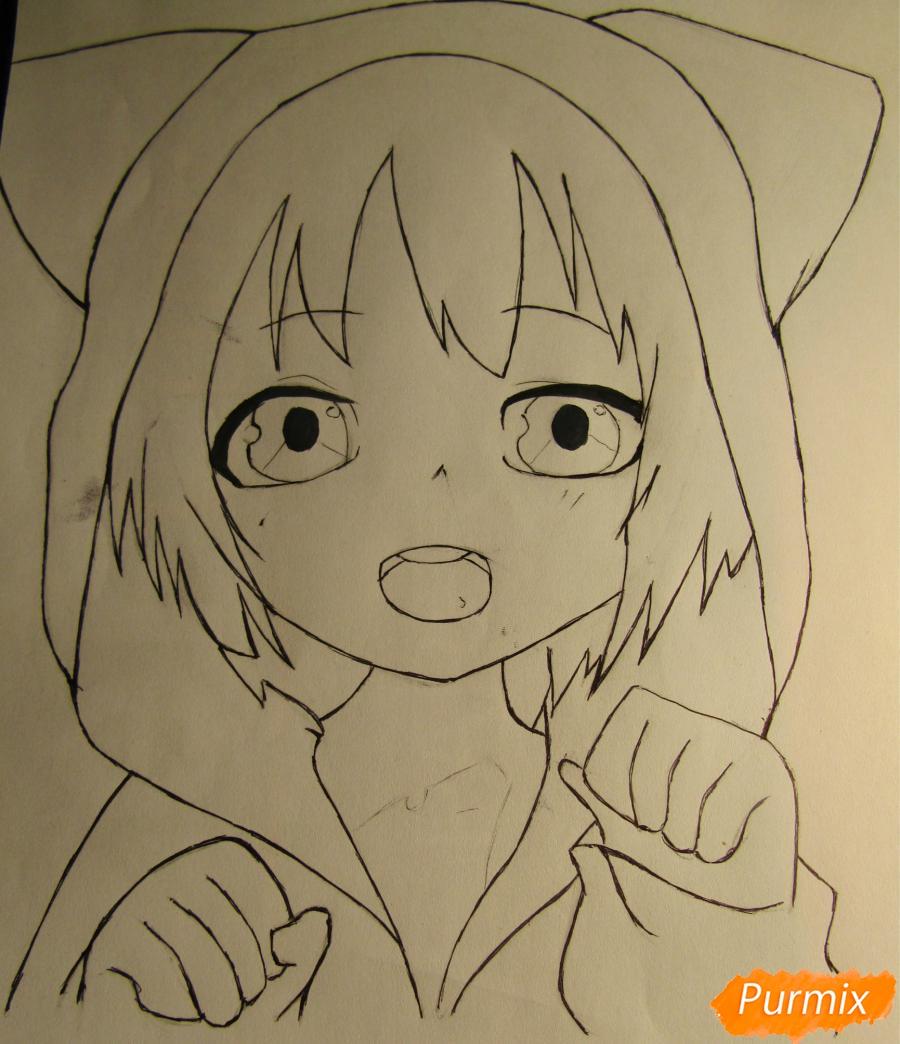 Рисуем миленького мальчика в стиле аниме карандашами и фломастерами - шаг 5