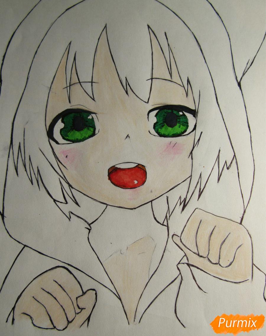 Рисуем миленького мальчика в стиле аниме карандашами и фломастерами - шаг 6