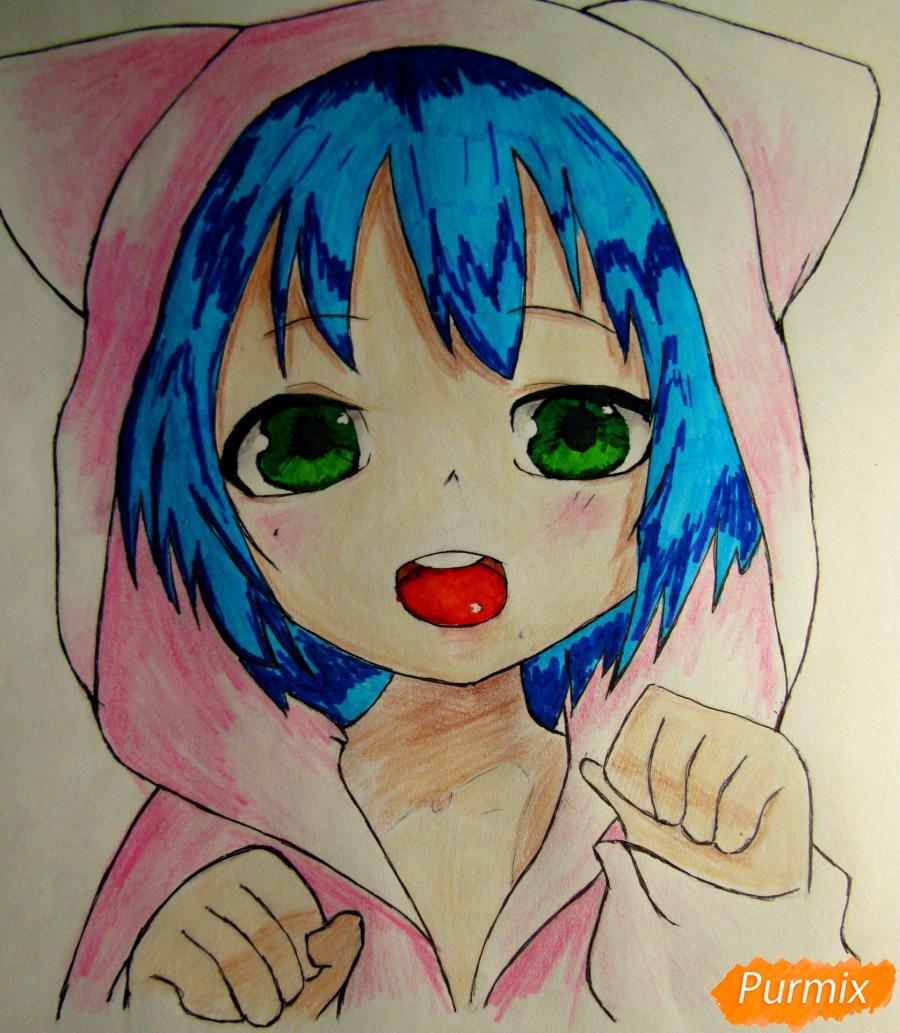 Рисуем миленького мальчика в стиле аниме карандашами и фломастерами - шаг 8
