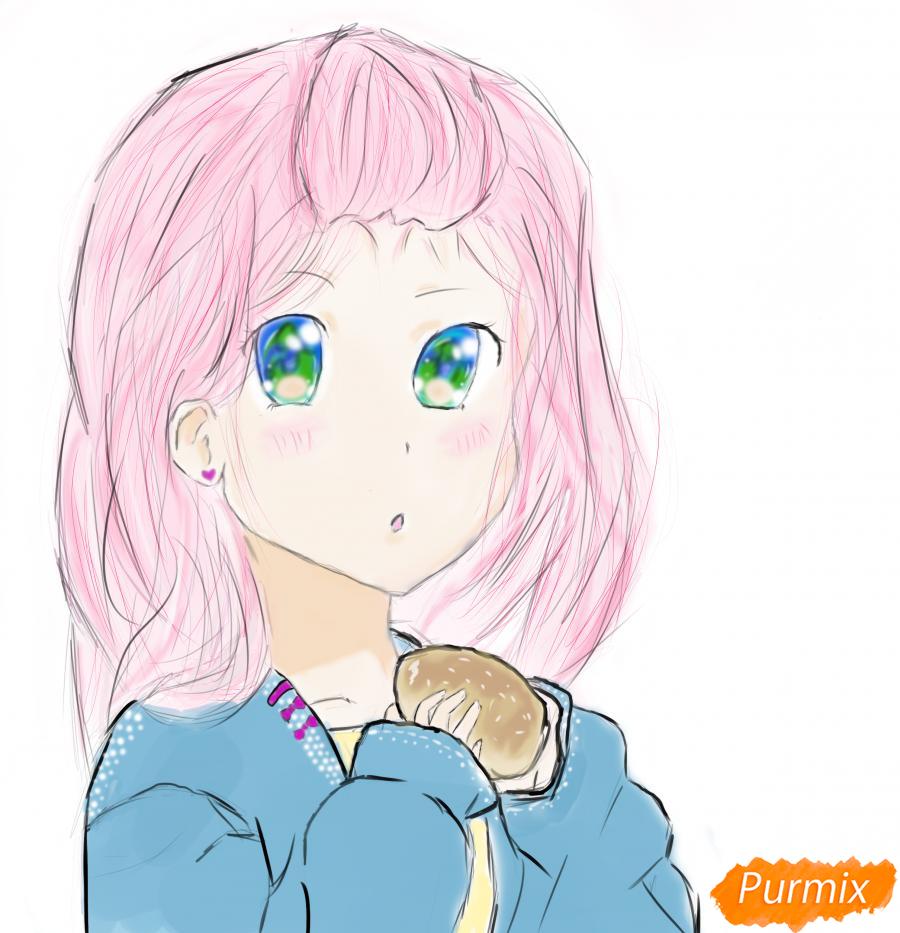 Девочка с булочкой в руках - шаг 10