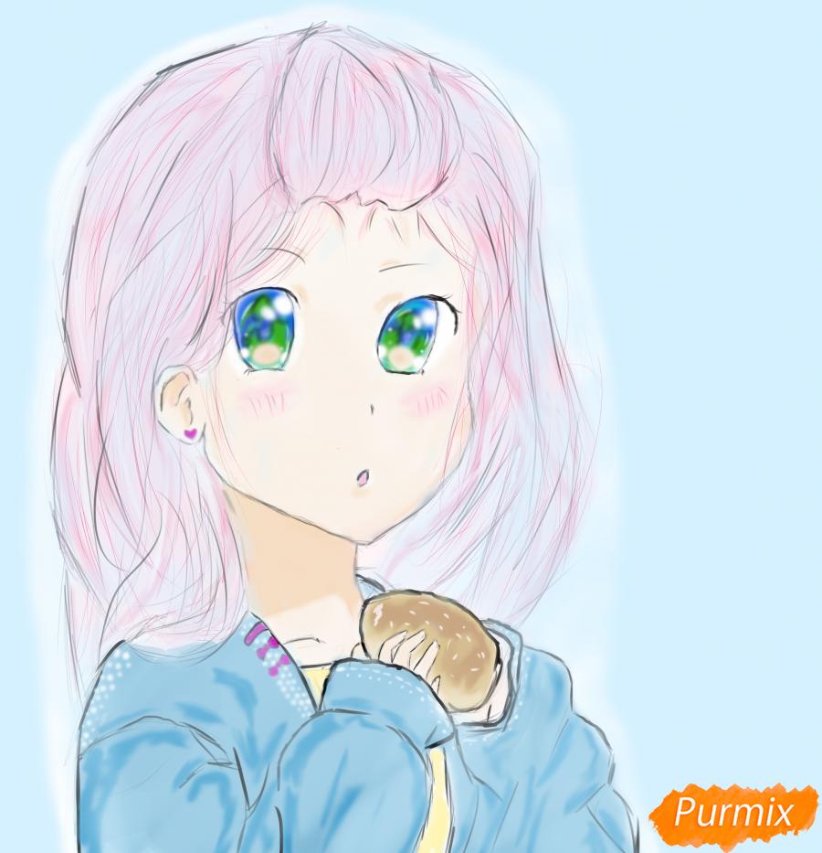 Девочка с булочкой в руках - шаг 11