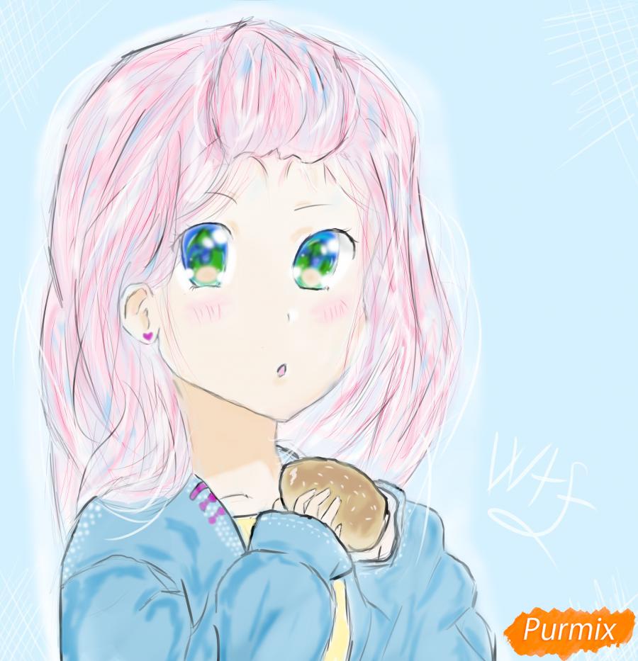 Девочка с булочкой в руках - шаг 12