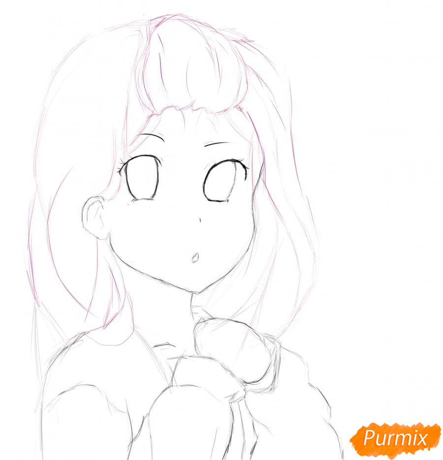 Девочка с булочкой в руках - шаг 5