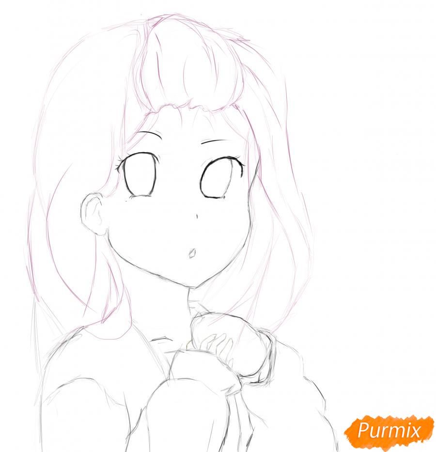 Девочка с булочкой в руках - шаг 6