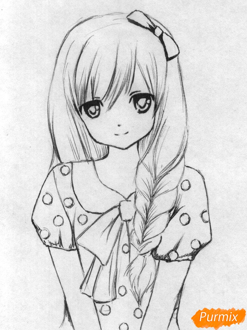 Рисуем милую аниме девушку (вариант 2) - шаг 2