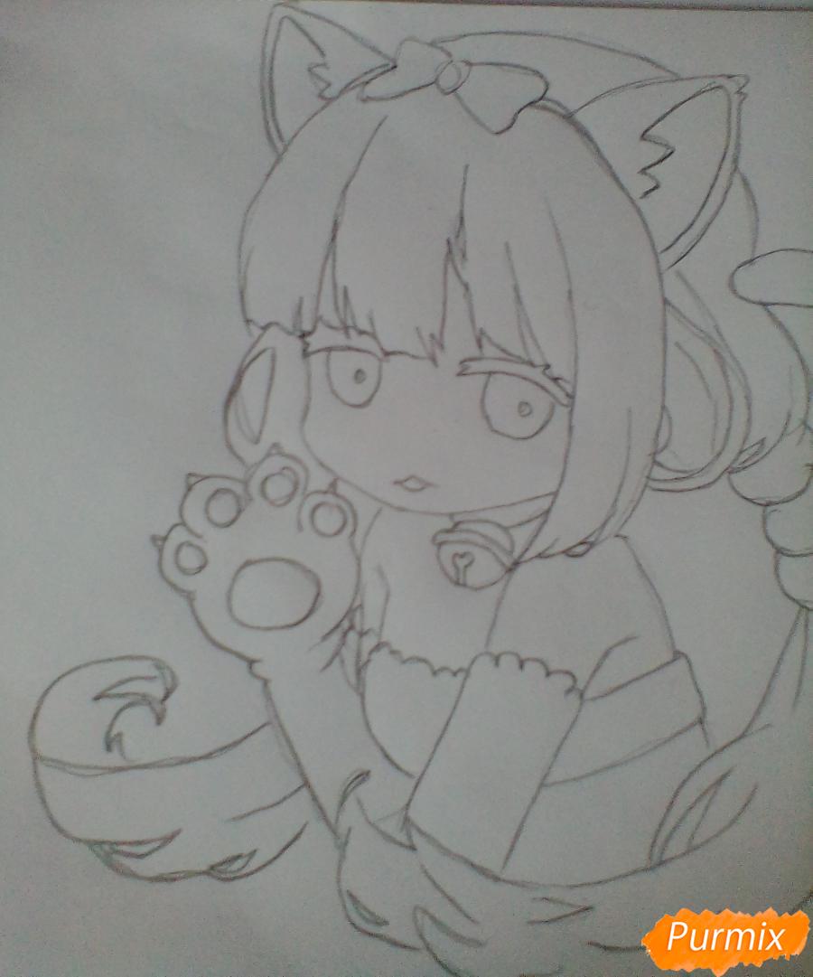 Рисуем милую Канну в стиле чиби - шаг 4