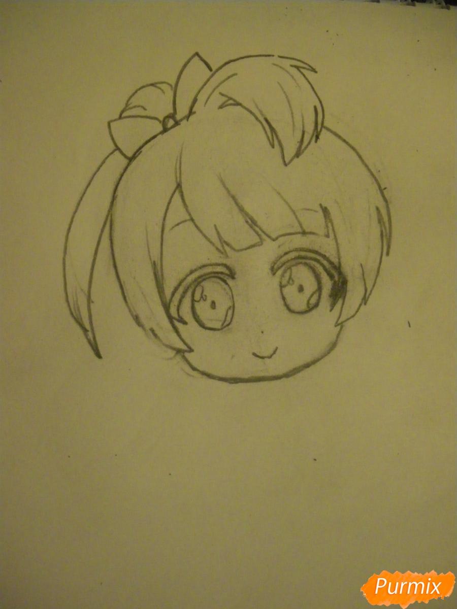 Рисуем Минами Котори в стиле чиби из аниме Живая любовь - шаг 3