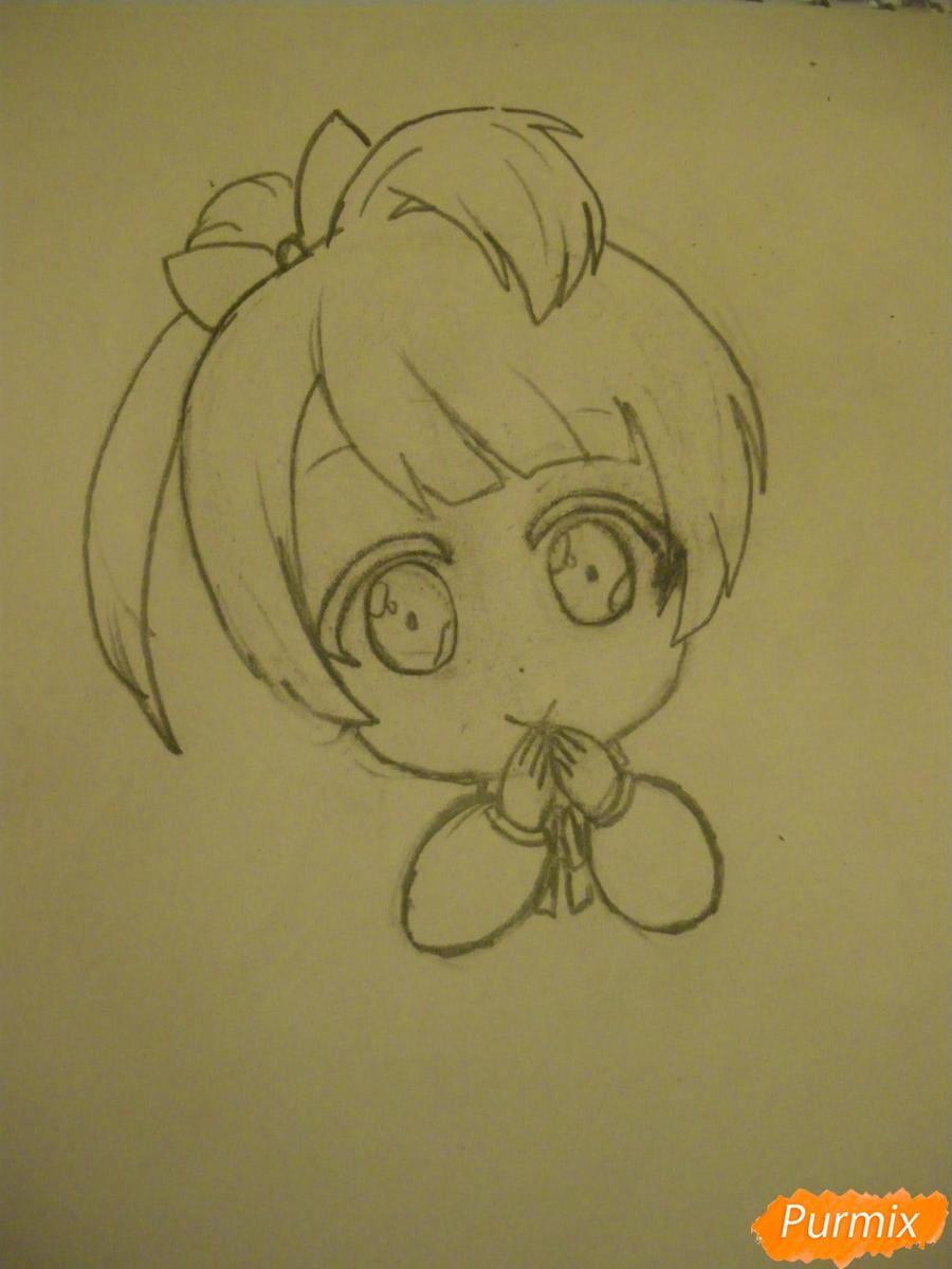 Рисуем Минами Котори в стиле чиби из аниме Живая любовь - шаг 4