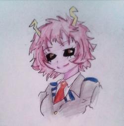 Мину Ашидо из Моя Геройская Академия карандашом