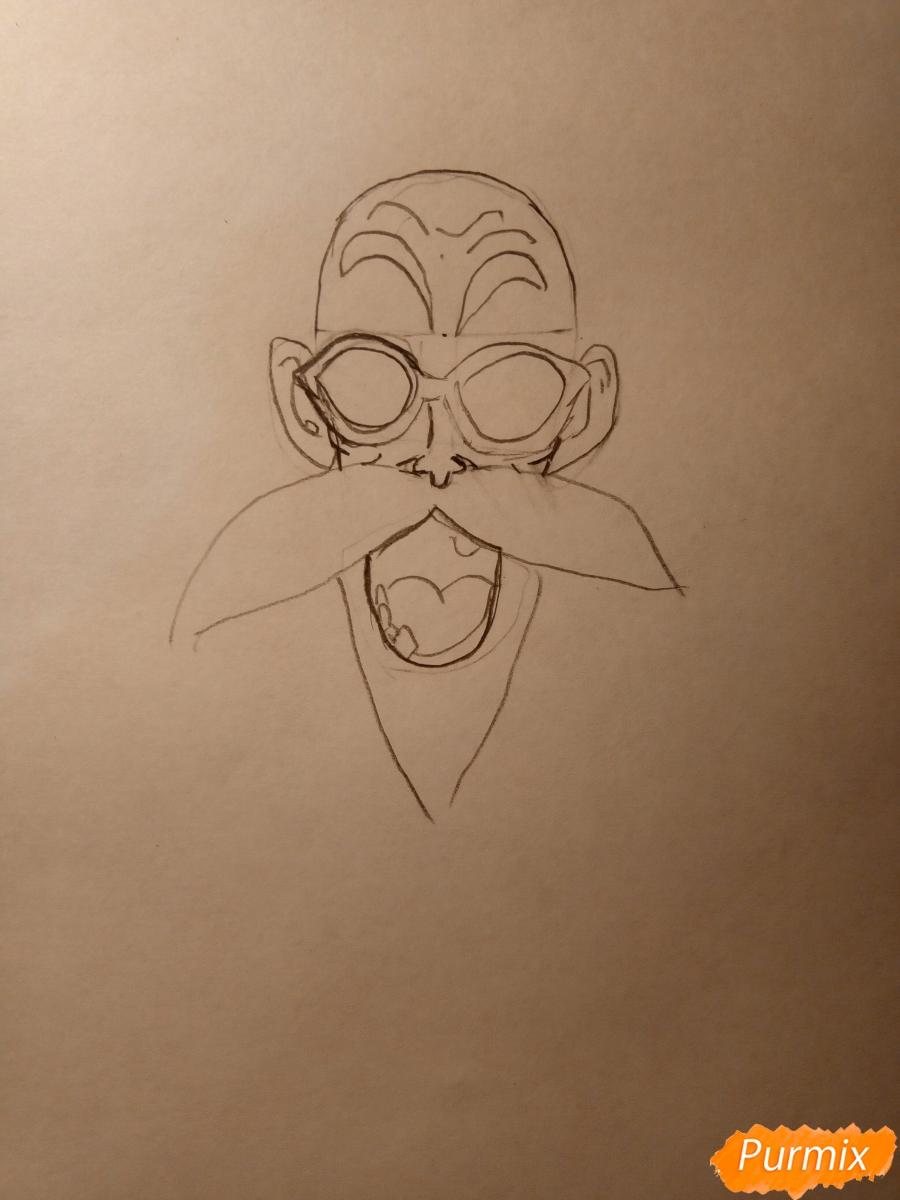 Рисуем Мутена Роши из аниме Драконий жемчуг - шаг 2