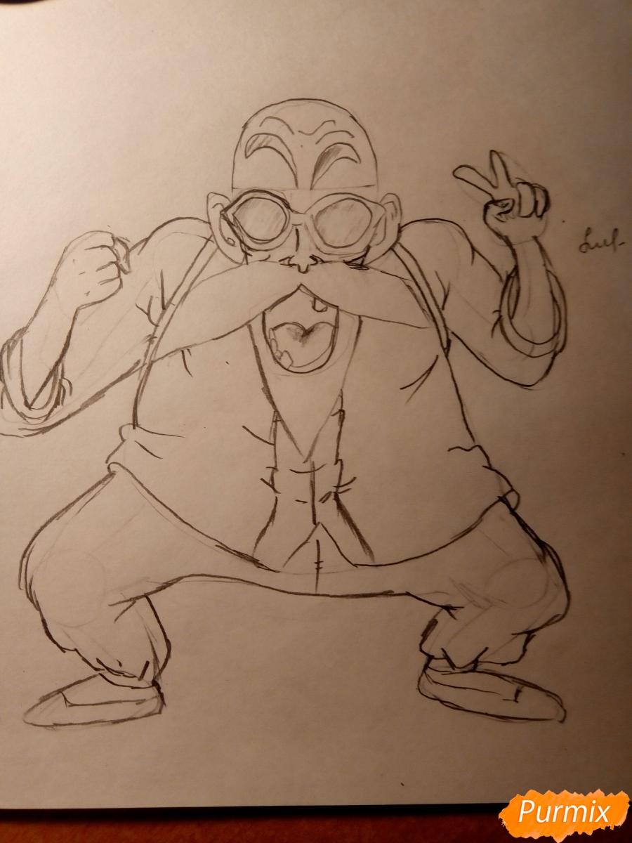 Рисуем Мутена Роши из аниме Драконий жемчуг - шаг 5