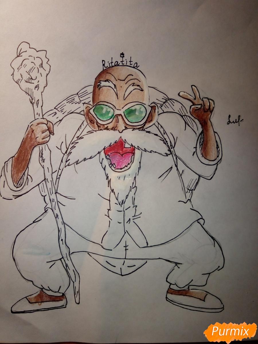Рисуем Мутена Роши из аниме Драконий жемчуг - шаг 8