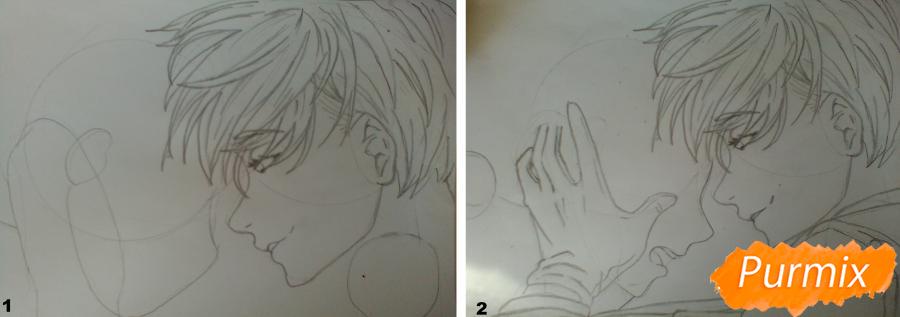 Рисуем Никифорова и Кацуки из аниме Юри на льду карандашами - шаг 2