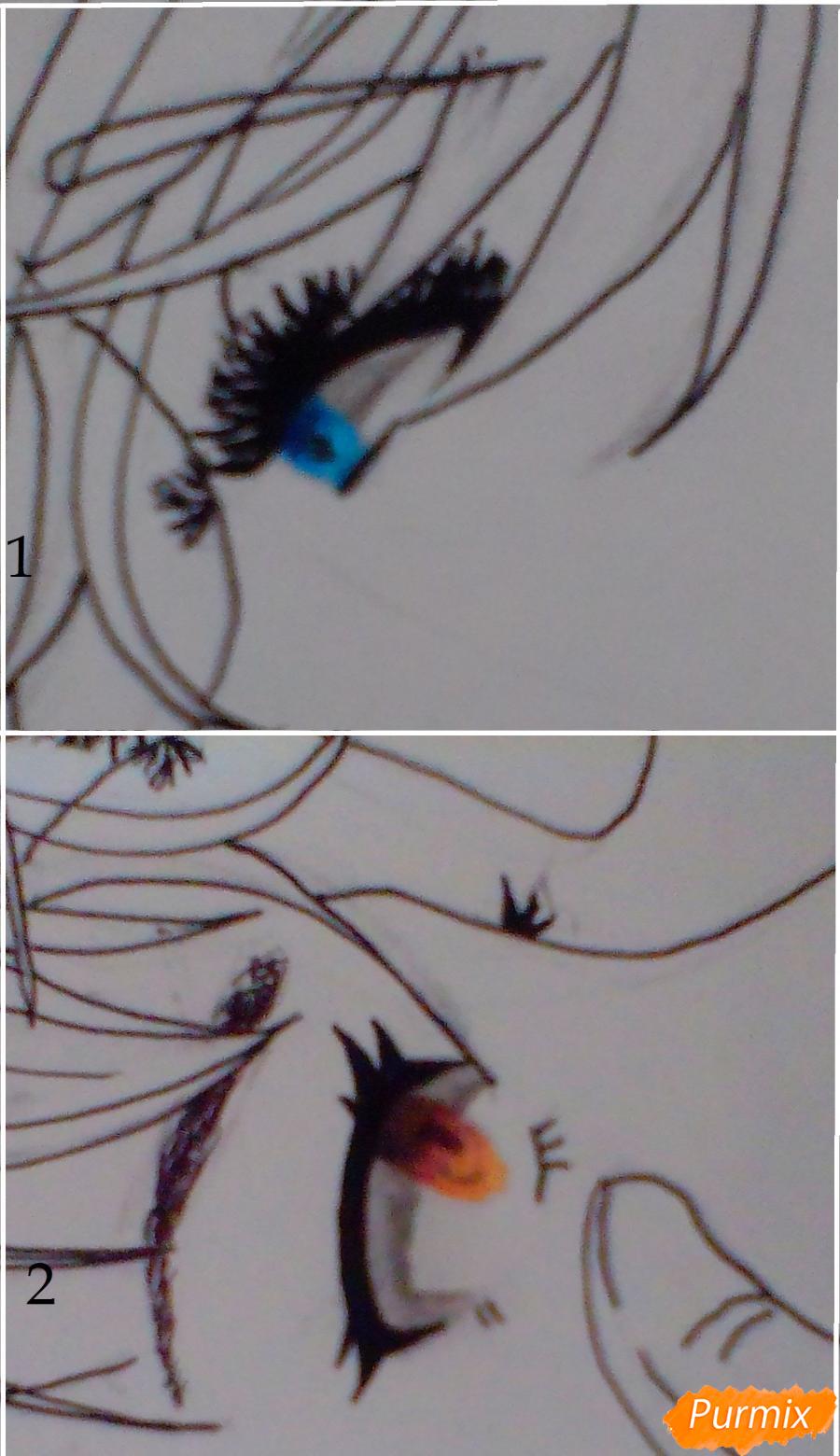 Рисуем Никифорова и Кацуки из аниме Юри на льду карандашами - шаг 5