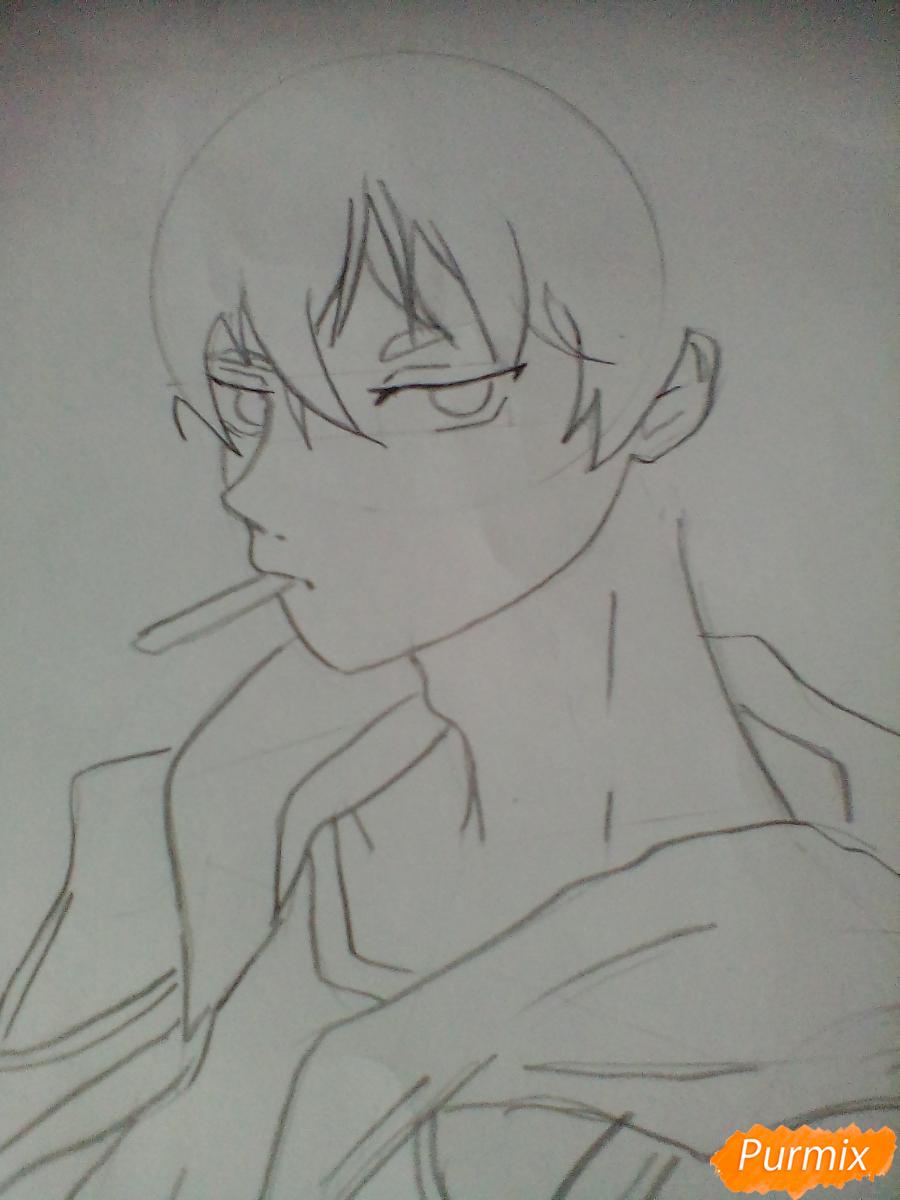 Рисуем Нишиною Юу из аниме Волейбол карандашами - шаг 3