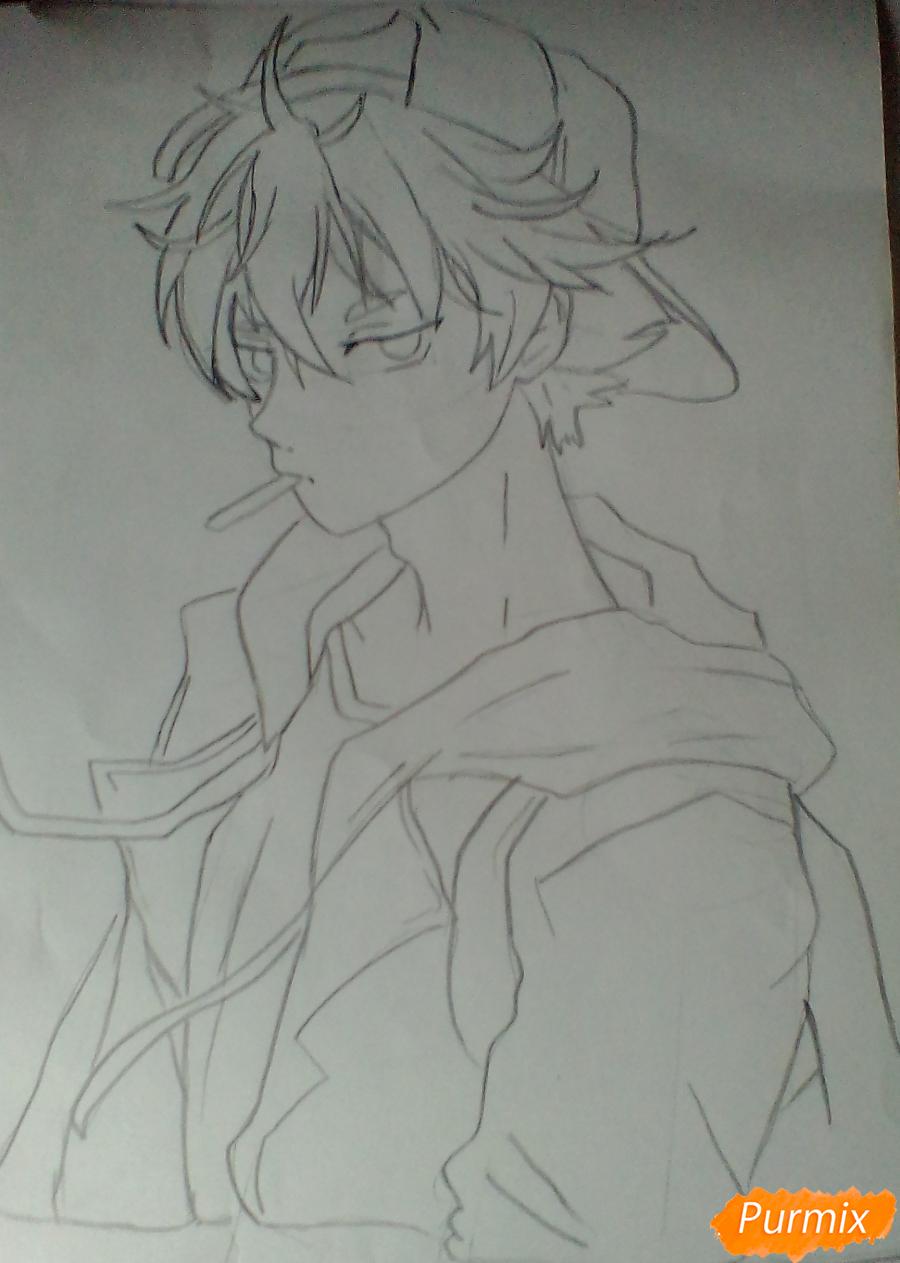 Рисуем Нишиною Юу из аниме Волейбол карандашами - шаг 4