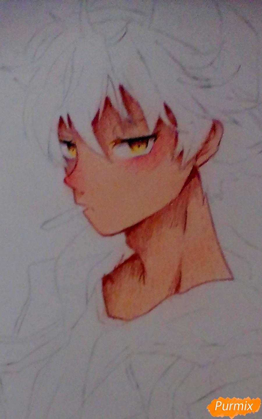 Рисуем Нишиною Юу из аниме Волейбол карандашами - шаг 6
