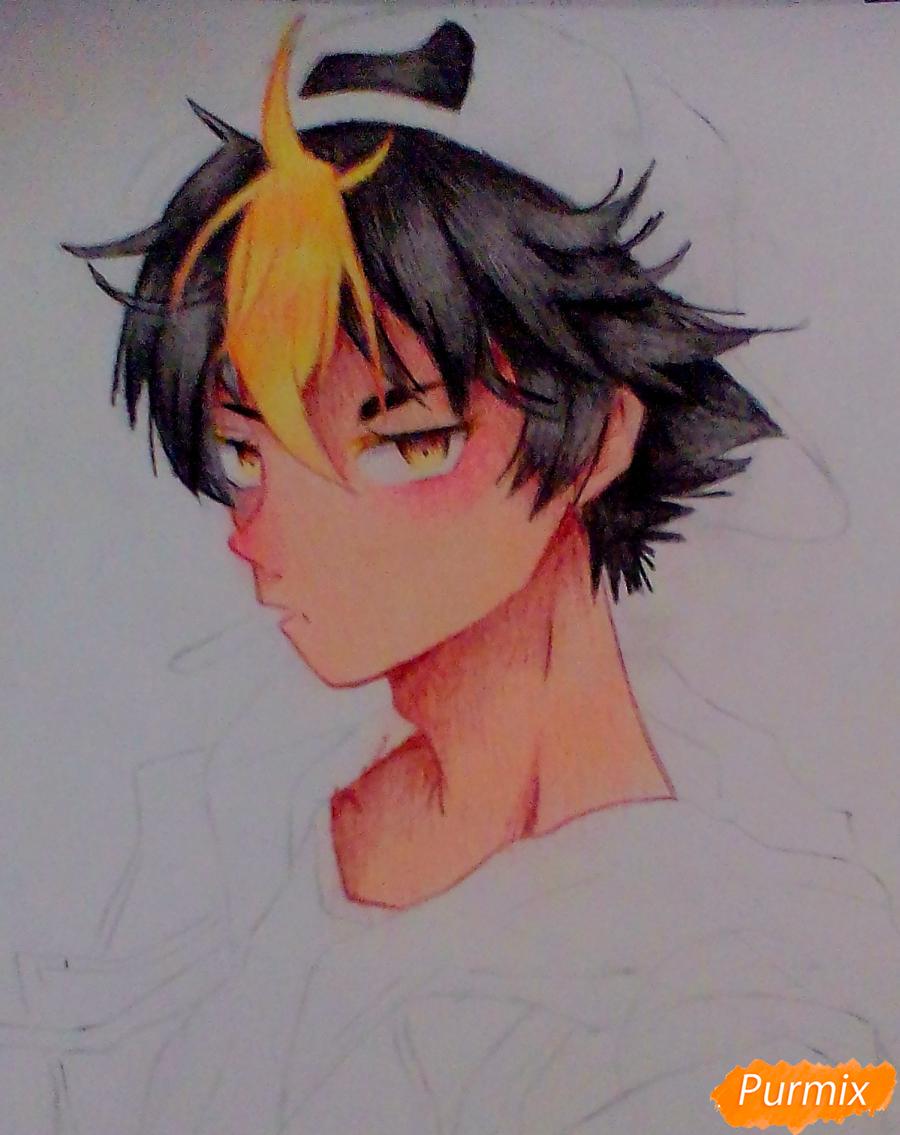 Рисуем Нишиною Юу из аниме Волейбол карандашами - шаг 7