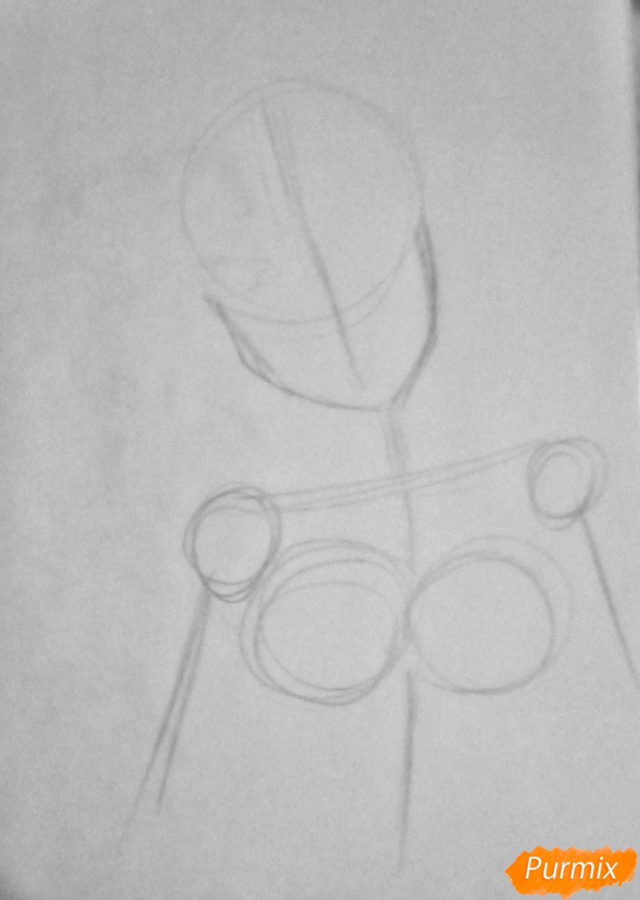 Рисуем Очако Урарака в форме из аниме Моя Геройская Академия - шаг 1