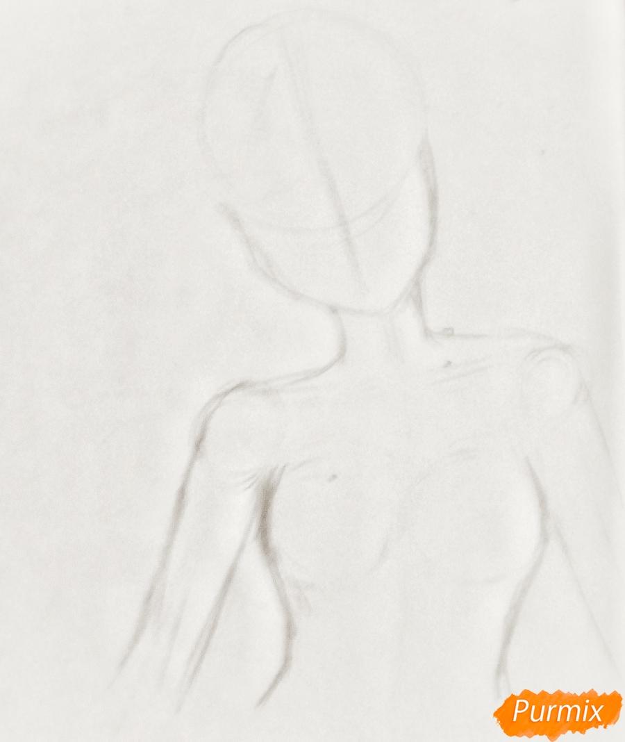 Рисуем Очако Урарака в форме из аниме Моя Геройская Академия - шаг 2