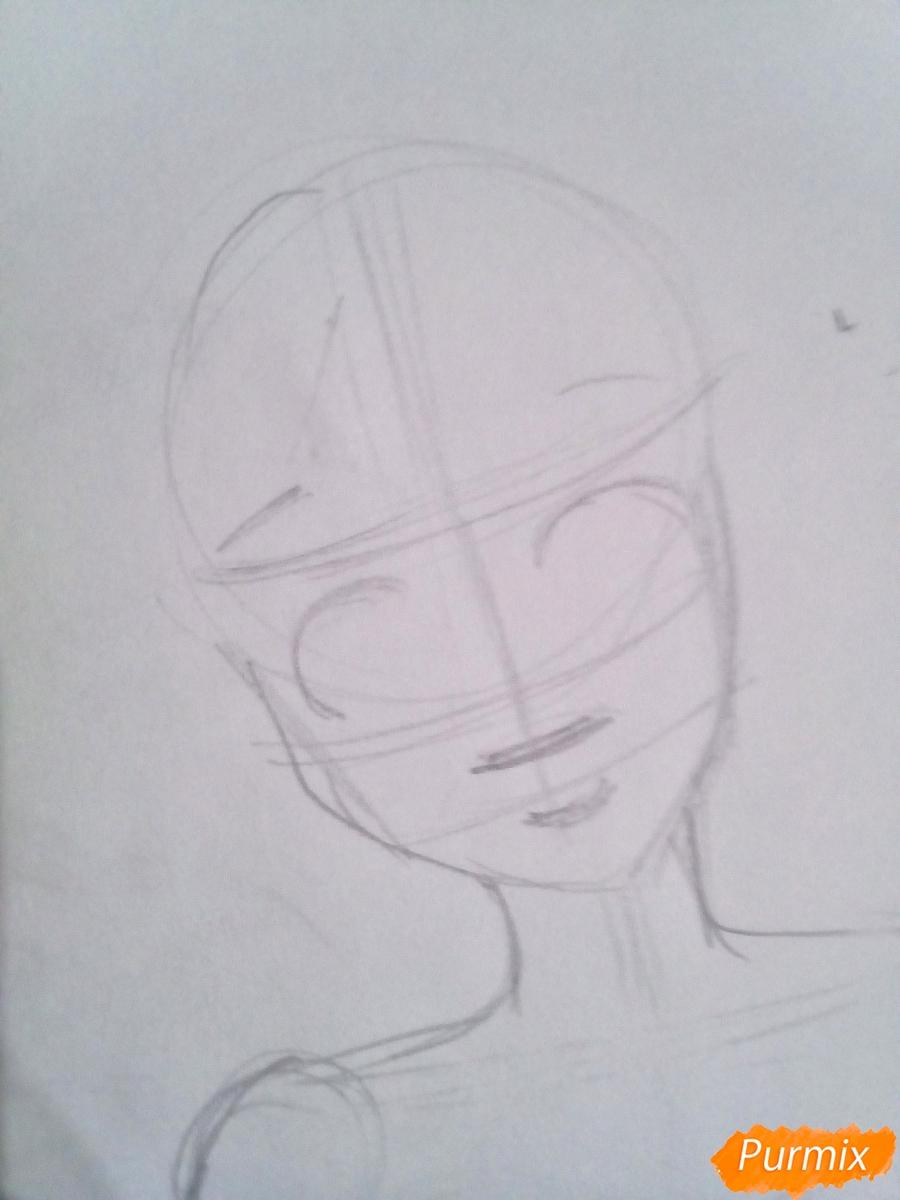Рисуем Очако Урарака в форме из аниме Моя Геройская Академия - шаг 3