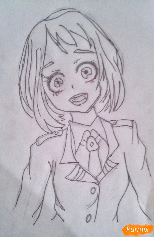 Рисуем Очако Урарака в форме из аниме Моя Геройская Академия - шаг 7