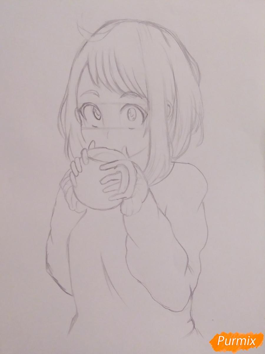 Рисуем Очако Урараку из аниме Моя Геройская Академия - шаг 4